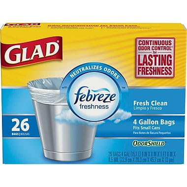 Gladd Febreze Trash Bags 1/26ct/4Gallon