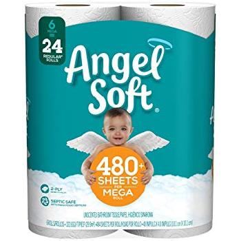 Angel Soft 480+ Sheets 6=24 Rolls 6/6rolls