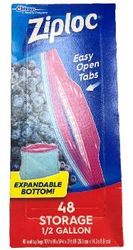 Ziploc seal top bags  ½ gal storage bags with expandable bottom 12/48ct bag